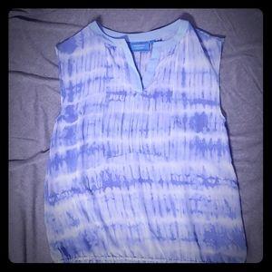SimplyVera * Vera Wang * S * Baby Blue & White Top